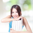 Student girl hug books and smile — Stock Photo