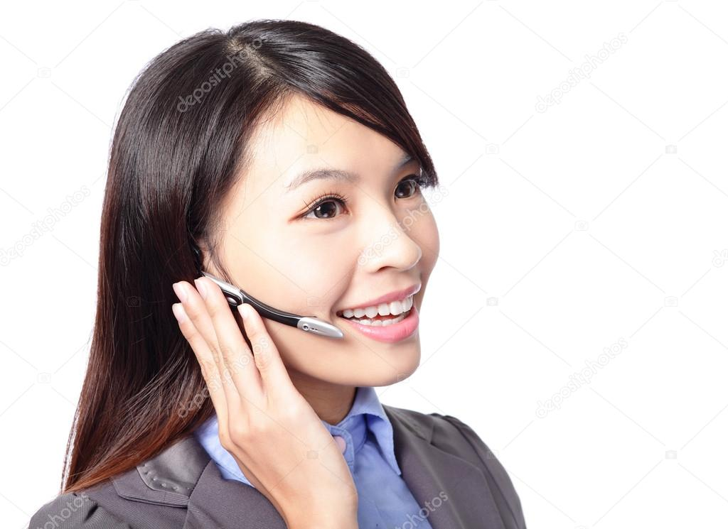Close up portrait of a call center employee wearing headset, isolated on white background, asian woman model — Foto de Stock   #17343965