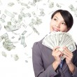 Royalty-Free Stock Photo: Woman smile happy with handful of money