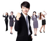 Successful excited Business man — Stock Photo