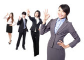 Business woman making the ok sign — Stock Photo