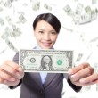Stock Photo: Business womsmile show money