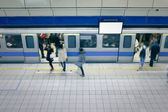 Moving enter carriage at metro station — Stock Photo