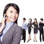 ler call center verkställande med kollegor — Stockfoto