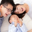 Royalty-Free Stock Photo: Happy family with children in bed