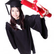 Happy graduate student girl — Foto Stock