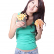 Happy Woman eating burger and fries — Stock Photo
