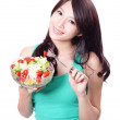 Beautiful woman smiling with salad — Stock Photo