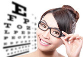 Woman with glasses and eye test chart — Foto Stock