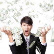 Business man anger shouting with money rain — Stockfoto