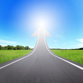 Highway road going up as an arrow — Stock Photo