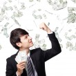 Happy business man with us money — Stock Photo #26695223