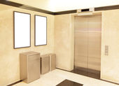 Elevator and blank billboard — Stock Photo
