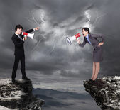 Business Man and woman shouting to each other — Stock Photo
