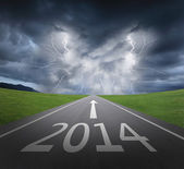 Danger to 2014 new year concept — Stockfoto