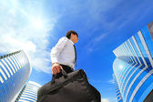 Successful business man outdoors Next to Office Building — Stock Photo