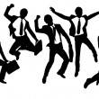 Silhouettes of happy jump and running Businessmen — Stock Vector #30360549