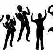 Silhouettes of excited happy Businessmen — Stock Vector #32756845