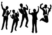 Silhouettes of excited happy Businessmen — Stock Vector