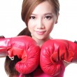 Sport young woman with boxing gloves — Stock Photo