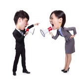 Business Man and woman shouting to each other — Stok fotoğraf