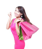 Mutlu genç kadın alışveriş — Stok fotoğraf