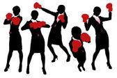 Siluetas de mujer de negocios del boxeo — Vector de stock