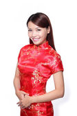 Woman dress traditional cheongsam — Foto Stock