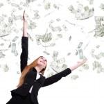 femme affaires chercher sous la pluie d'argent — Photo