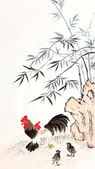 Traditional Chinese painting ,bamboo and chicken — Stock Photo