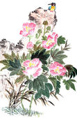 Traditional Chinese painting ,peony and bird — Stock Photo