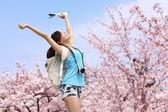 Happy woman traveler take a photo — Stock Photo
