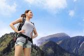 Happy woman mountain hiker — Stock Photo