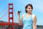 Woman travel in San Francisco — Stock Photo