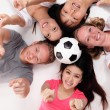 Happy Group of friends with soccer — Stock Photo