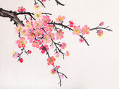 Chinese painting of flowers, plum blossom — Stock Photo