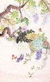 Chinese painting of flowers and butterfly — Foto de Stock