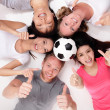 Happy Group of friends with soccer ball — Stock Photo