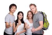 Başparmak yukarıya grup, mutlu öğrenci ve arkadaşları — Stok fotoğraf