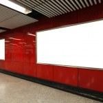 Blank Billboard in metro subway station — Stock Photo
