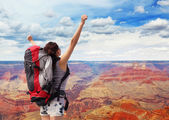 Woman mountain hiker in grand canyon — Stock Photo