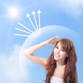 UV care and woman face with sunshine — Stock Photo