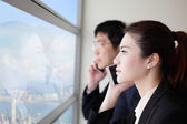 Business team speaking phone — ストック写真