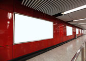 Blank Billboard in subway station — Stock Photo