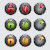 Set di pulsanti per cento, lucchetto e orologio — Vettoriale Stock