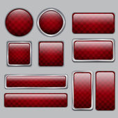 Glossy Red web buttons — Stock Vector