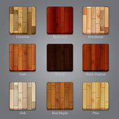 Set of wood icons — Stock Vector