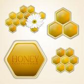 Vector honey combs design elements — Stock Vector