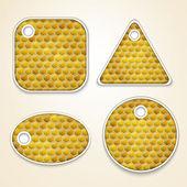 Vector honey combs labels — Stock Vector