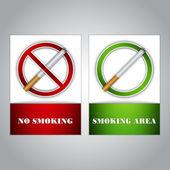 Sigara ve sigara alan işaretleri — Stok Vektör